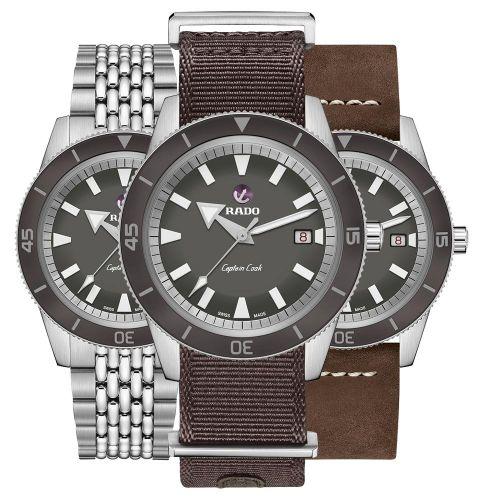 Rado Captain Cook Automatic Grau EasyClip-Set mit 3 Wechsel-Armbändern 42mm R32505018 | Uhren-Lounge
