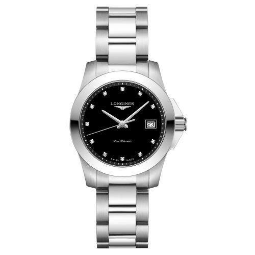 Longines Conquest Damenuhr mit Diamanten Silber Schwarz 34mm Quarz L3.377.4.57.6