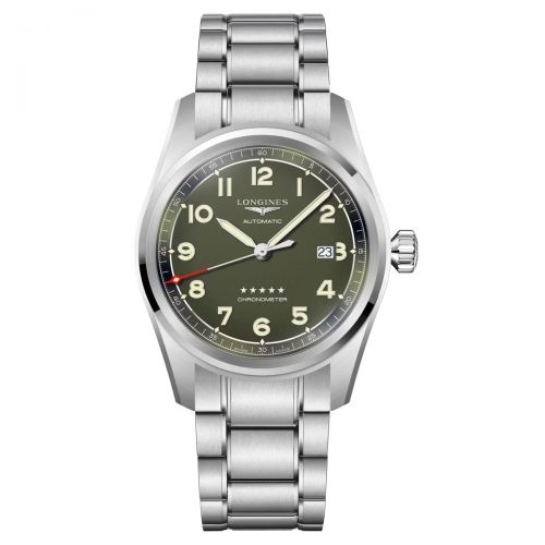 Longines Spirit 42mm Grün Edelstahl-Armband Herrenuhr Automatic L3.811.4.03.6