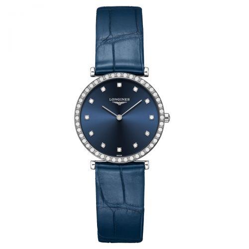Longines La Grande Classique Damenuhr mit Diamanten Blau Leder-Armband Quarz 29mm L4.523.0.97.2