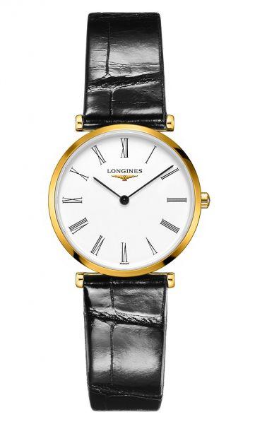 Longines La Grande Classique Gold Zifferblatt Weiß Lederarmband Schwarz Quarz Damenuhr L4.512.2.11.2 | Uhren-Lounge