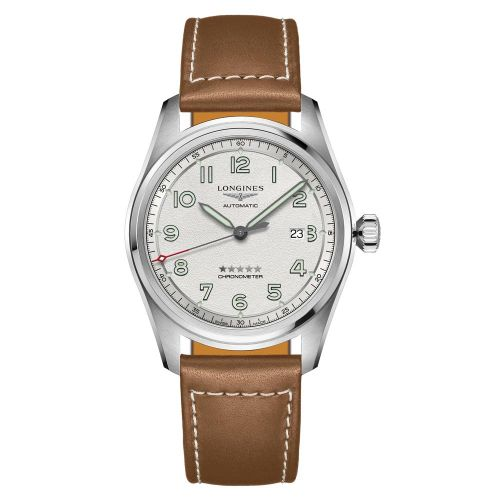 Longines Spirit Automatic Chronometer 42mm Silber Leder-Armband Herrenuhr L3.811.4.73.2