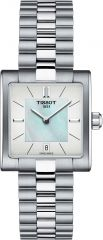 Tissot Uhr Damen silber mit Perlmutt-Zifferblatt T-Lady T02 Square T090.310.11.111.01