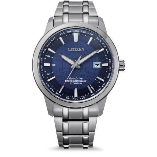 Citizen Funkuhr Weltzeit Eco-Drive Titanium Herrenuhr 43mm Silber Blau CB0190-84L | Uhren-Lounge