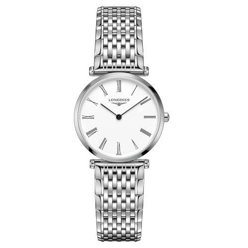 Longines La Grande Classique Damenuhr Silber weißes Zifferblatt römische Ziffern Edelstahl-Armband Quarz L4.512.4.11.6