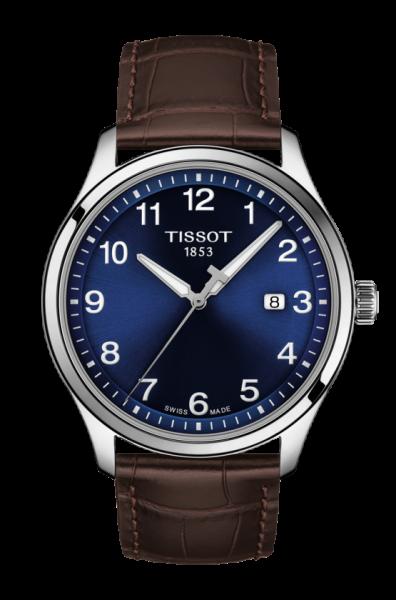 Tissot Gent XL Classic Herrenuhr 42 mm mit blauem Zifferblatt & braunem Leder-Armband Quarz T116.410.16.047.00