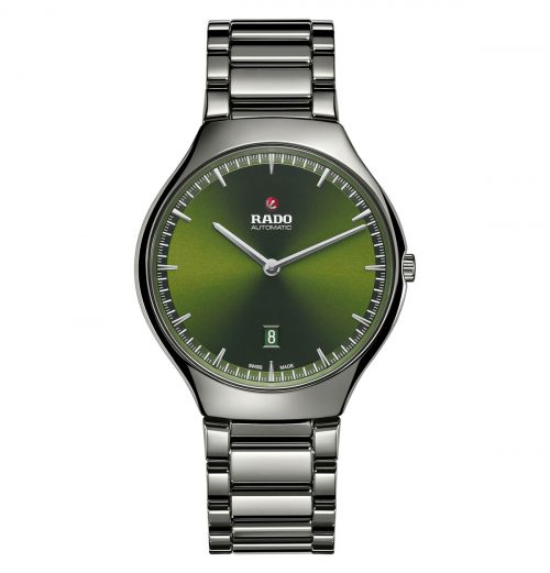 Rado True Thinline Automatic Grau Grün Keramik-Uhr Herren & Damen 40mm R27088312