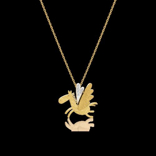 Luisa Rosas Caring Tales Pegasus Anhänger mit Kette Gold mit Diamanten LRCT150