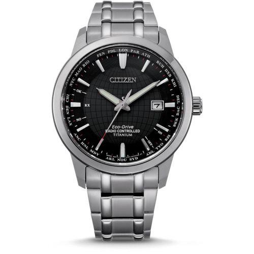 Citizen Funkuhr Weltzeit Eco-Drive Titanium Herrenuhr 43mm Silber Schwarz CB0190-84E | Uhren-Lounge