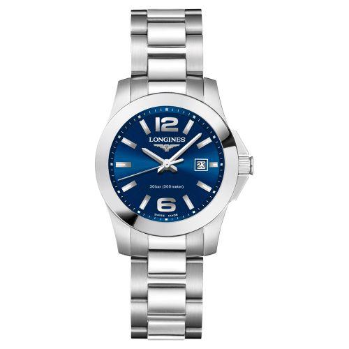 Longines Conquest Damenuhr 29,5mm Blau Edelstahl-Armband Quarz L33764966