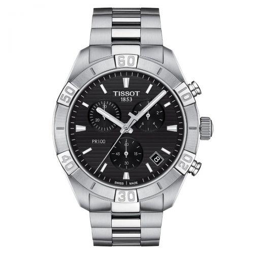 Tissot PR 100 Sport Gent Chronograph Herrenuhr 44mm Schwarz Edelstahl-Armband Quarz T101.617.11.051.00