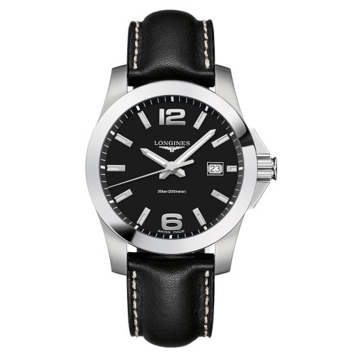 Longines Conquest Quarz 41mm Schwarz Leder-Armband Herrenuhr L3.759.4.58.3