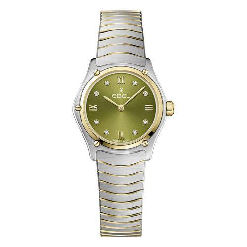 Ebel Uhr Damen 24mm Bicolor mit grünem Zifferblatt mit Diamanten Quarz Sport Classic Lady Mini 1216441A | Uhren-Lounge