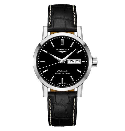 Longines 1832 Herrenuhr Automatik Jahreskalender schwarzes Zifferblatt Leder-Armband L4.827.4.52.0 | Uhren-Lounge