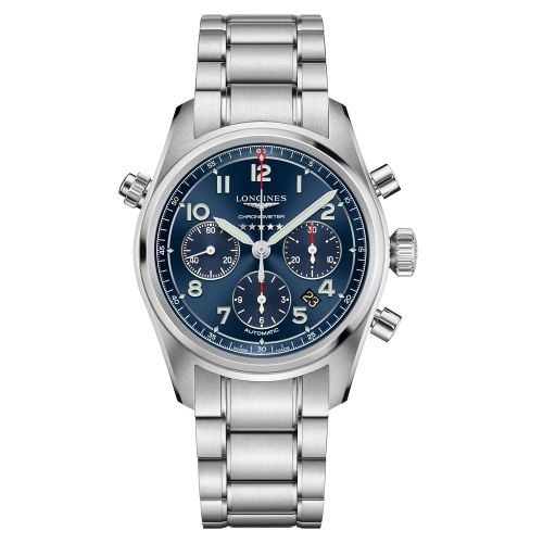 Longines Spirit Chronograph Automatic Blau Edelstahl-Armband Herrenuhr 42mm L3.820.4.93.6 | Uhren-Lounge