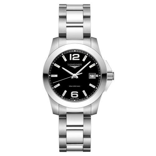 Longines Conquest Damenuhr 34mm Schwarz Silber Edelstahl-Armband Quarz L3.377.4.58.6