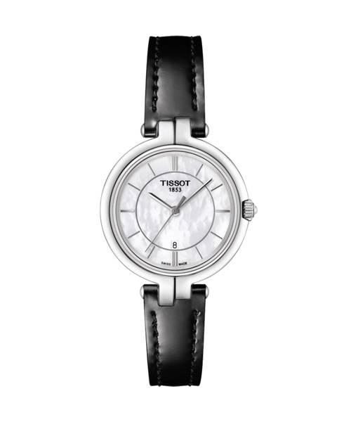 Tissot Flamingo Damenuhr mit weißen Perlmutt Zifferblatt und schwarzem Leder-Armband 26mm Quarz T094.210.16.111.00
