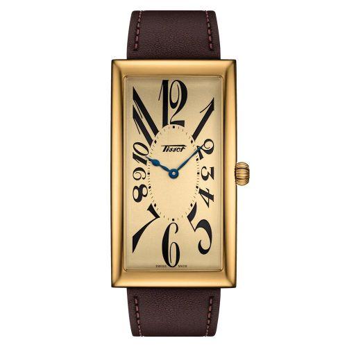 Tissot Heritage Banana Uhr rechteckig Gold Lederarmband Braun T117.509.36.022.00