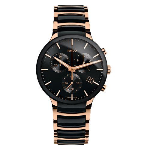 Rado Centrix Chronograph XL Bicolor Schwarz Rosegold Herrenuhr 40mm Quarz R30187172 | Uhren-Lounge