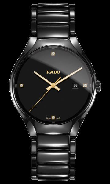 Rado True Diamonds L Quarzuhr 40mm mit 4 Diamanten und schwarzem Zifferblatt R27238712