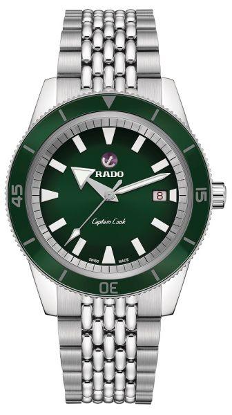 Rado Captain Cook Automatic 42mm grün Herrenuhr mit Edelstahlarmband R32505313 | Sale | Uhren-Lounge