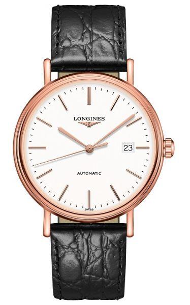 Longines Presence Automatic Herren 40mm Rosegold weiß Leder-Armband schwarz L4.922.1.12.2