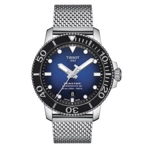 Tissot Seastar 1000 Powermatic 80 Automatic Blau 43mm Milanese-Edelstahl-Armband T120.407.11.041.02 | Uhren-Lounge