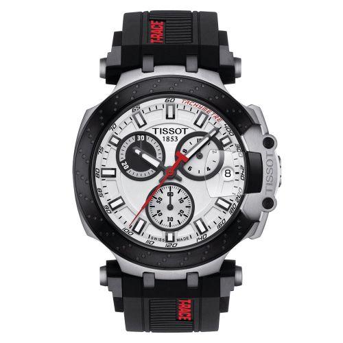 Tissot T-Race Chronograph Schwarz Weiß Kautschuk-Armband Herrenuhr Quarz 43mm T115.417.27.011.00