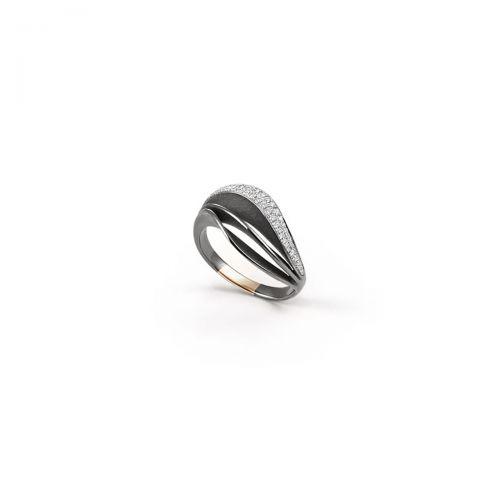 Annamaria Cammilli Ring Velaa Pave Schwarz Gold mit Diamanten Essential GAN3258E