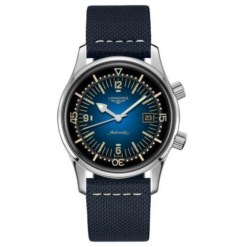 Longines Legend Diver Blau Herrenuhr Automatik 42mm Leder-Armband Taucheruhr L3.774.4.90.2