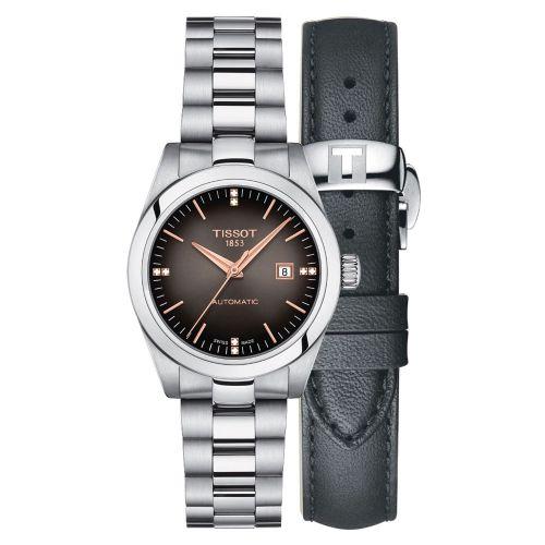Tissot T-My Lady Automatic Damenuhr Silber Anthrazit Diamanten Edelstahl- & Leder-Armband T132.007.11.066.01
