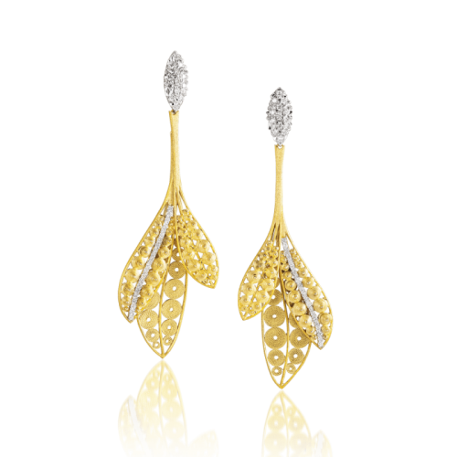 Luisa Rosas Luz Ohrringe Gold mit Diamanten dreiteilig M LRLZ193