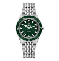 Rado Captain Cook Damenuhr Automatik 37 mm Silber mit grünem Zifferblatt & Edelstahl-Armband R32500323 | Uhren-Lounge
