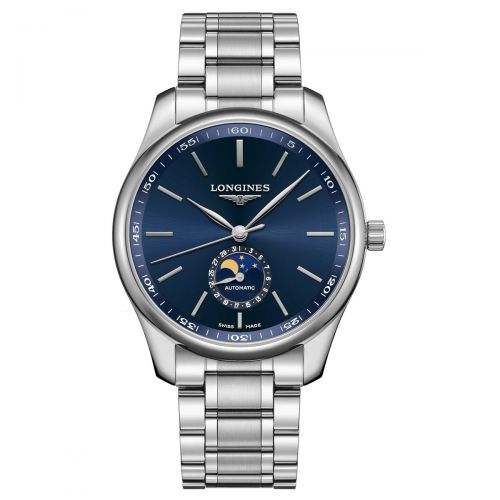 Longines Master Collection Mondphase Blau Edelstahl-Armband Herrenuhr 42mm Automatik L2.919.4.92.6