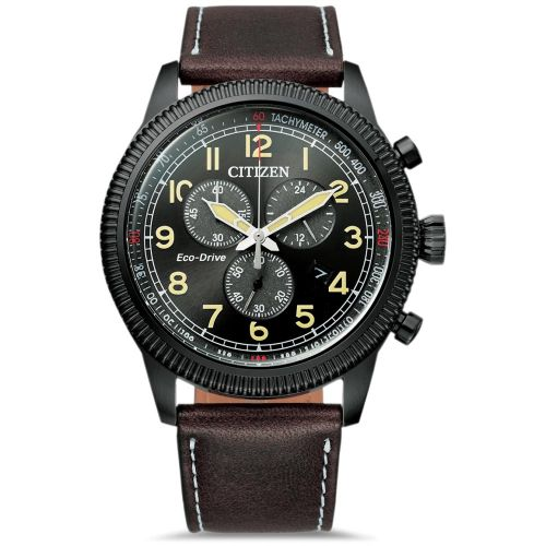 Citizen Eco-Drive Herren Chronograph 43mm Schwarz Leder-Armband Braun AT2465-18E | Uhren-Lounge