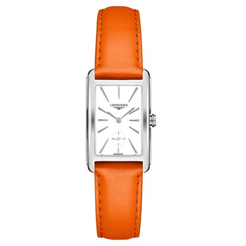 Longines DolceVita mit weißem Zifferblatt & Leder-Armband Orange 37mm Quarz L5.512.4.11.8