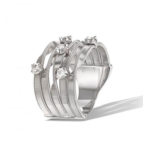 Marco Bicego Marrakech Ring Weißgold mit Diamanten 5 Stränge 18 Karat AG157 B W