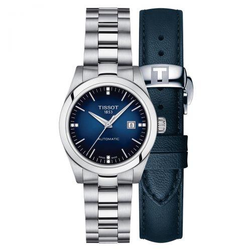 Tissot T-My Lady Automatic Damenuhr Blau Diamanten Edelstahl & Leder-Armband T132.007.11.046.00