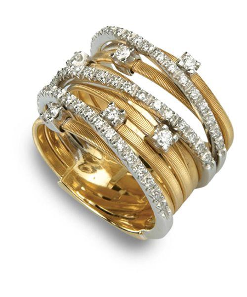Marco Bicego Ring Goa Gold Diamanten 9 Stränge AG278 B2 YW