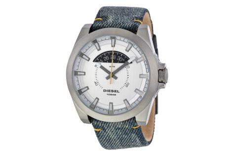Diesel Uhr Herren grau mit Zifferblatt weiß & Jeans Armband 46mm Arges DZ1689