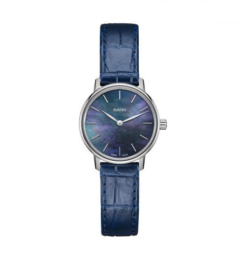 Rado Coupole Classic Damenuhr Blau Perlmutt-Zifferblatt Leder-Armband Quarz 27mm R22897915
