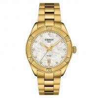 Tissot PR 100 Sport Chic Lady Gold Perlmutt-Zifferblatt mit Diamanten T101.910.33.116.01 | Uhren-Lounge