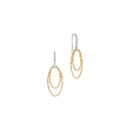 Marco Bicego Marrakech Onde Ohrringe Gold mit Diamanten 2 konzentrische Ringe mit Haken OG372-A-B1