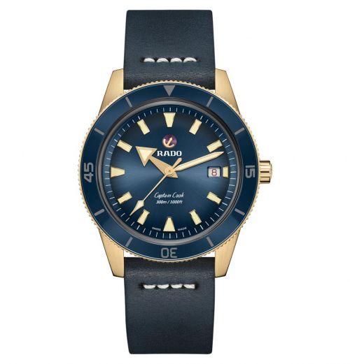 Rado Captain Cook Automatic Bronze Blau Leder-Armband Herrenuhr XL 42mm R32504205 | Uhren-Lounge