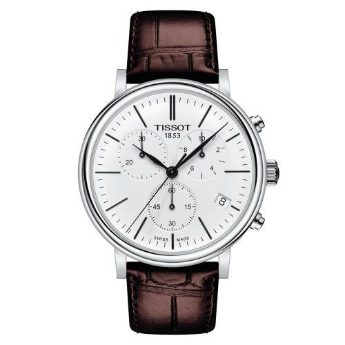 Tissot Carson Premium Chronograph Silber mit weißem Zifferblatt & braunem Leder-Armband T122.417.16.011.00