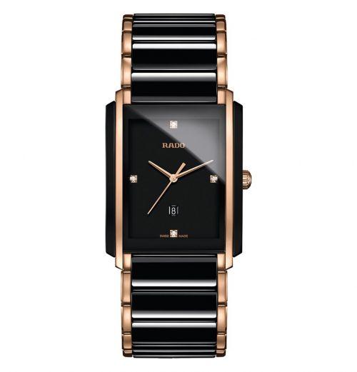 Rado Integral Diamonds L Herrenuhr Schwarz Rosegold Diamanten Keramik Quarz R20207712 | Uhren-Lounge