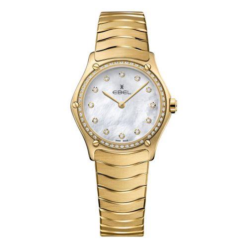 Ebel Uhr Gold Damen-Uhr mit Diamanten und Perlmutt-Zifferblatt weiß 29mm Sport Classic Lady 1216392 | Uhren-Lounge