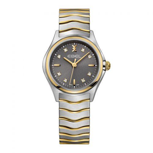 Ebel Damenuhr Bicolor Silber Gold 18 Karat mit anthrazit Zifferblatt mit 8 Diamanten 30mm Quarz Wave 1216283