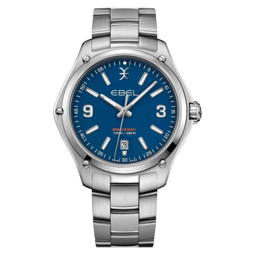 Ebel Discovery Gent Herrenuhr 41mm silber Zifferblatt blau Edelstahl-Armband 1216400