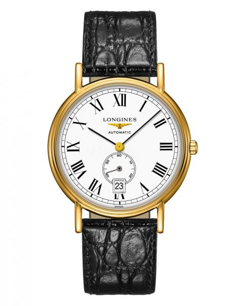 Longines Presence Automatic kleine Sekunde 38mm Gold Weiß Leder-Armband L4.805.2.11.2 | Uhren-Lounge